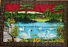 Vtg Turkish Textile 100% Cotton Wall Tapestry Swan Country Side Scene