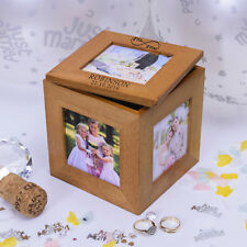 Oak Wooden Wedding Mr/Mrs Infinity Photo Cube - Personalised Gift 5 Photos Frame