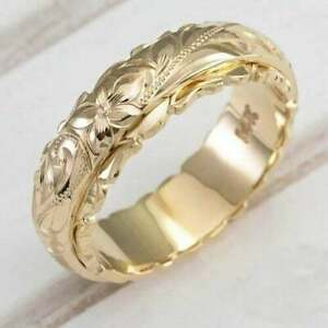 Ring; 14k Yellow Gold Plated Alloy Suspension Carved Rose Flower Size 10 New