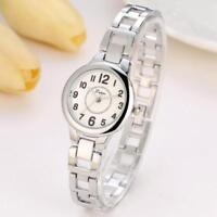 Women Fashion Stainless Steel Crystal Dial Quartz Bracelet Luxury Wrist Watch