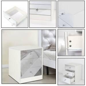 3 Drawer Mirrored Bedside Table Matt White Frame Bedroom Furniture Storage UK