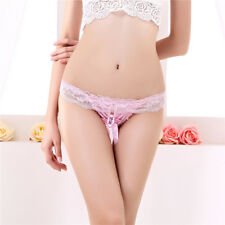 LE Pearl Open Women Sense Of Lace Thong Low Waist Hollow Sexy Underwear T-Thong