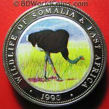 1998 Somalia 250 Shilling Piefort 1.4oz Silver Proof Ostrich Bird Fauna Piedfort