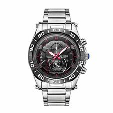 Mens Watch Black Silver Red Boys Smart Analogue Watches Business Gift Present