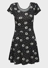 Ladies Floral Dress Womens Black White Mini Short Sleeve Tunic Skater