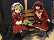 Wood & wrought iron American girl park bench Porcelain dolls, Ty & Kuddlee pup