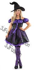 Women Ladies Funky Purple Witch Fancy Dress Horror Glamour Halloween Costume (ER
