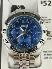 Sub Dial Stainless Steel Watch Armitron 20/4664Blsv Mens Blue Dial and