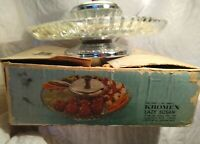 Vintage Kromex Lazy Susan Glass Tray , Casserole With Chrome Cover On Ball...