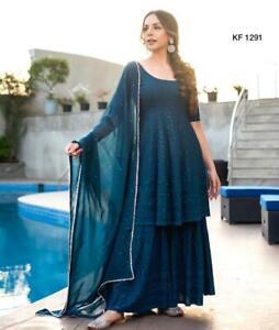 Women Blue Palazzo Kurta Dupatta Designer Sharara Kurta Pakistani Salwar Kameez