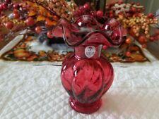 "Cranberry Fluted  Ruffle Edge Rib Vase Fenton Art Glass ""2004"""