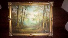 Original peinture à l'huile paysage forêt signé C. Inness 1874-1932 encadrée 14×18