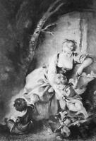 YOUNG MOTHER Happy Family Children - 1876 ETCHING Print after Boucher