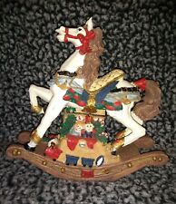 Extremly RARE white horse brown mane VNTG Christmas Rocking Horse Music Box