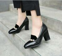 Womens High Block Heels Slip On Pumps Patent Leather OL Shoes Casual Plus Size