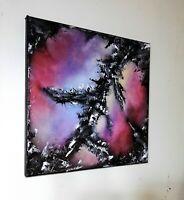 Peinture abstraite sur toile format 30/30 cm a l`huile série les marcheurs