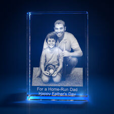 3D Laser Crystal Glass Personalized Etched Engrave Stand Father's Day Portrait S