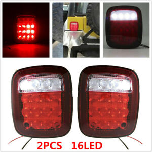 16LED Stop Tail Light Brake Lamp Turn Reverse Fit For Jeep Wrangler TJ CJ 76-06