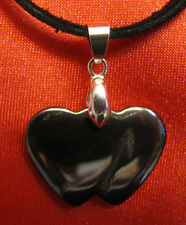Hematite heart stone pendant leather necklace healing jewelry confidence harmony