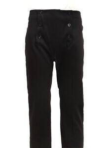 Men's Vintage Costume pants Victorian Black High Waist Retro fall front Trousers