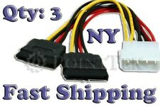3 QTY 4-Pin IDE to 2 Serial ATA SATA 15-Pin Molex Power Cable FAST SHIPPING