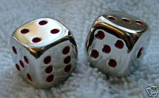 (2) 15mm SOLID METAL - HIGHLY POLISHED DICE WITH RED DOTS