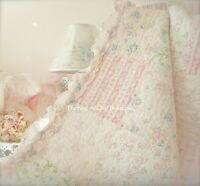 Queen Quilt Set Shabby Patchwork Pink Floral Country Cottage White Ruffles Chic