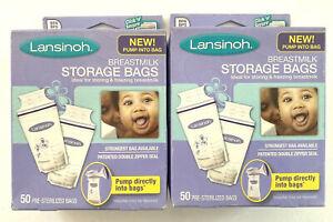 100 Lansinoh Breastmilk Storage Bags BPA Free Pump Directly Into Milk Bag 50 x 2