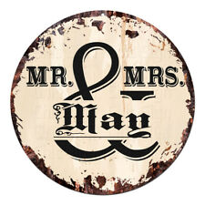 CPF-0270 MR. & MRS. MAY Circle Sign Rustic Tin Bar Home Man Cave Gift