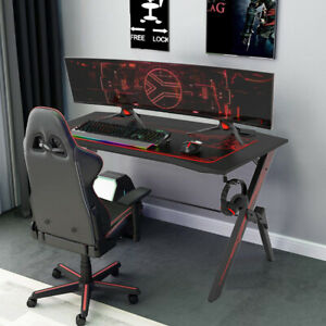 DripeX Computer Gaming Desk Racing Table with Hook Cup Holder, Free XL Mouse Pad