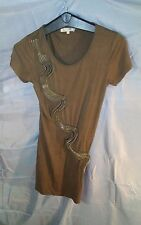 Costa Blanca Stretch Short Sleeve TShirt Style Dress w/ Zippers Brown sz S/P NWT