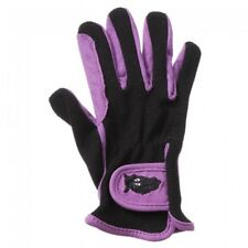 Kids Purple and Black Embroidered Riding Gloves Size Medium Horse Tack