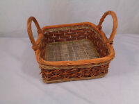 Vtg Basket Two Handle Multi Color Rectangular Woven Wicker Basket Farm House VGC