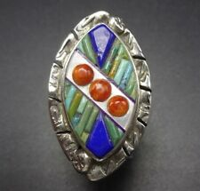 New Old Stock DAVID FREELAND Sterling Silver TURQUOISE LAPIS Inlay RING size 8