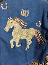 DONT MESS With TEXAS Denim Jeans HORSE Womens Coat Blazer Jacket Size XL 18 20