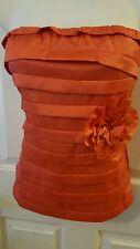 Women's Faisca Orange Cascade Blouse Top Shirt Sleeveless Size M Holiday Party
