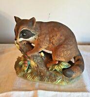 "Masterpiece Porcelain Raccoon On Log Figurine by Homco Vintage 7"" x 5"" Ex. Cond."