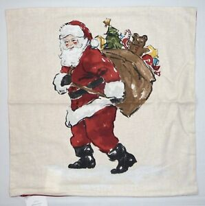 "NEW Pottery Barn Painted Santa Claus 20""x 20"" Decorative Christmas Pillow Cover"