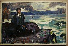 Russian Ukrainian Soviet Oil Painting realism portrait Pushkin poet sketch
