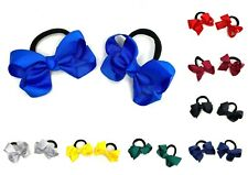 2 x Small Hair Bow Ribbons Bobbles Girls School Hair Accessories Ponio