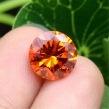 6.12CT 10MM Orange Red Sapphire Round Cut Shape AAAAA VVS Loose Gemstone