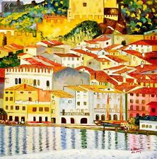 "GUSTAV KLIMT - MALCESINE ON LAKE GARDA  36X36 "" OIL PAINTING"