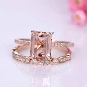 2CT Emerald Morganite Diamond Wedding Bridal Ring Set Gemstone 14K Rose Gold FN