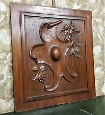 wine grapes blazon decorative carving panel Antique french architectural salvage