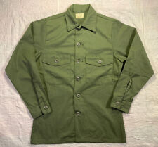 VTG 70s US Army Button Front Shirt OG507 Military 20x28 M/L NOS Combat Fatigue