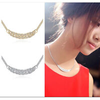 Exquisite Women Yellow/White Gold Filled Crystal Bib Clavicle Waltz Necklace
