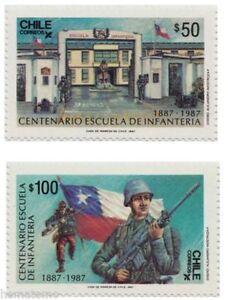 Chile 1987 #1247-48 Centenario Escuela de Infanteria army MNH