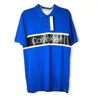 NWT Calvin Klein Pima Cotton Mens Medium Blue Short Sleeve Knit Polo Shirt $69