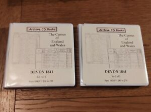 Archive cd books census of England and Wales Devon 1841 2 sets 17xCD