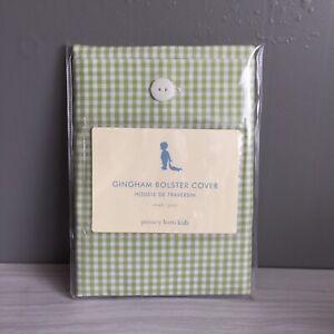 Pottery Barn Kids Green Gingham Check Small Cotton Bolster Pillow Cover Nip